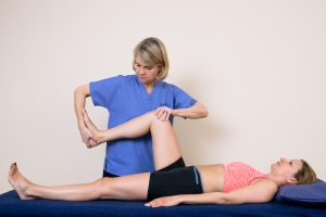 Sue McCall testing leg