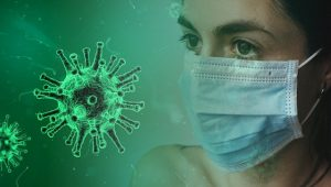 coronavirus and masked woman