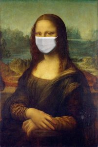 mona lisa with a mask